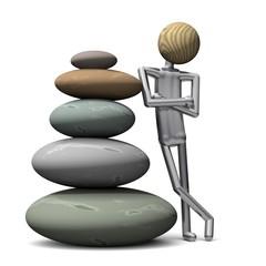 Yoga Position stehend mit Steinturm
