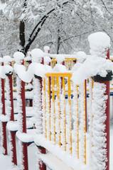 Playground under snow