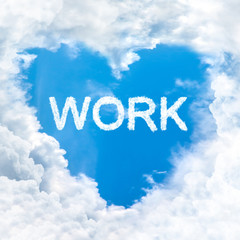 love work word on blue sky