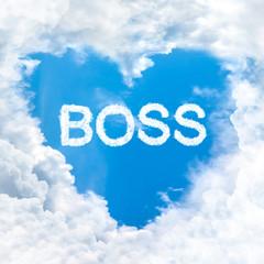 love boss word on blue sky