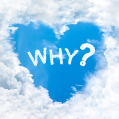 why question word on blue sky