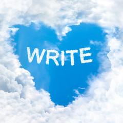write word on blue sky