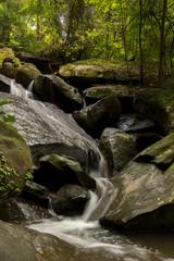 Waterfalls, clear, beautiful, green, plants, moss, rocks.