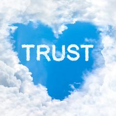 trust word nature on blue sky