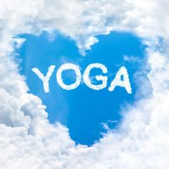 yoga word nature on blue sky
