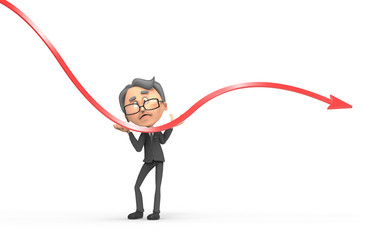 3d businessman with red arrow negative