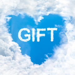 gift word nature on blue sky