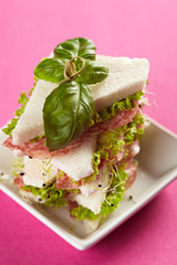 tramezzini mit Salami, Salat und Sprossen