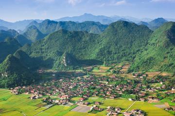 village in valley in Bac Son, Vietnam