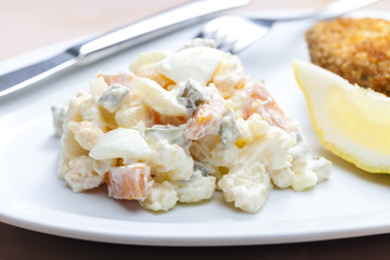 fried carp with potato salad