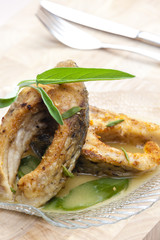carp with butter and sage