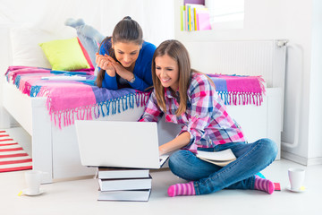 Two female students learning at home.