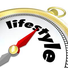 Lifestyle Word Golden Compass Enjoyable Living Life