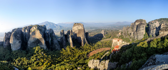 Panoramic view of the mountains in Meteora, Greece.