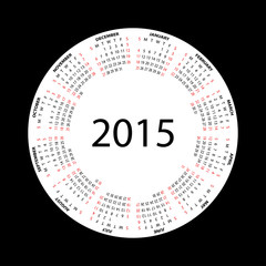 Simple round calendar for 2015 year on black background.