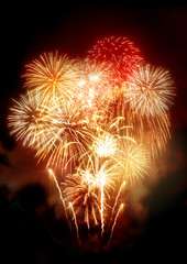 Beautiful Golden Fireworks Display