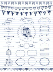 Vector Collection of  Banners, Ribbons and Frames