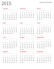 American calendar 2015 year. Week starts from Sunday.