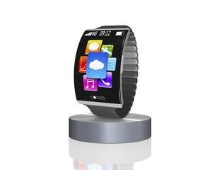 dark grey bent interface smartwatch on showcase with metal watch