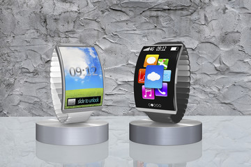pair colorful curved screen smartwatch with metal watchband on s