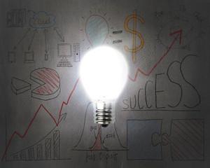 brightly light bulb illuminated dark doodles wall