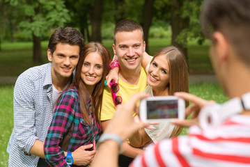 Friends Taking a Photo with Smartphone