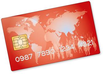 Carte bancaire rouge