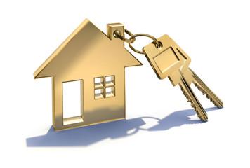 Haussymbol mit Schlüsseln in Gold