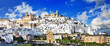 panorama of Ostuni beautiful white town in Puglia, Italy - 73042501