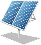 Solar panels photovoltaics tracker white poster