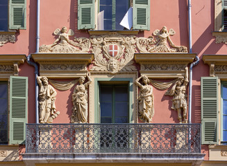 Decorated Facade of a Historic Palace in Nice