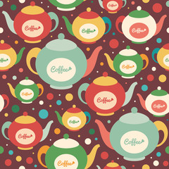 Colorful seamless pattern with coffee kettles and circles.