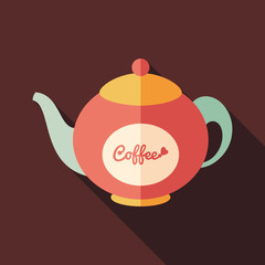 Coffee kettle flat square icon with long shadows.