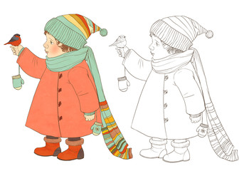 A child in winter clothes considering bullfinch