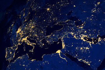 Satellite map of European cities night