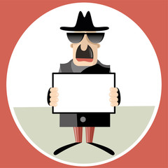 Abstract vector illustration of spy holding paper sheet