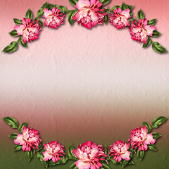 Beautiful painted rose on abstract background for congratulation