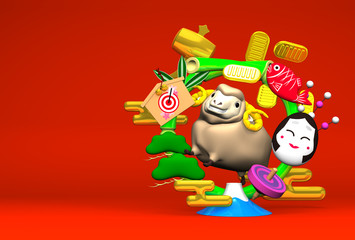 Smile Brown Sheep, New Year's Bamboo Wreath On Red Text Space