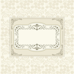 vintage frame on eastern European traditional seamless pattern w