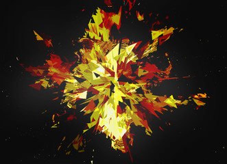 burst of broken particle on black backgrounds with copy space