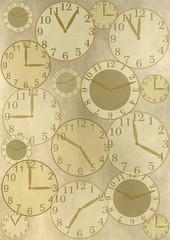 Viele Uhren auf grau braunem vintage Hintergrund