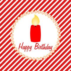 Happy Birthday Karte mit roter Kerze auf weiß roten Streifen