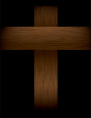 Wooden Cross on Black Illustration