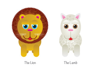 Cute Lion and Lamb Illustrations