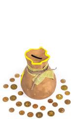Ceramic piggy bank with money