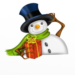 snowman with cylinder and christmas gift