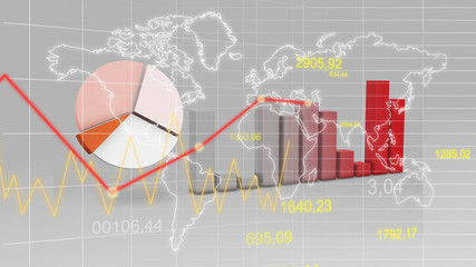 World Map Statistic Data Graph Red Finance 3D Background