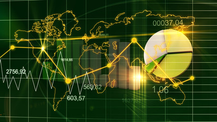 World Map Statistic Data Graph Dark Green Finance Background 3D