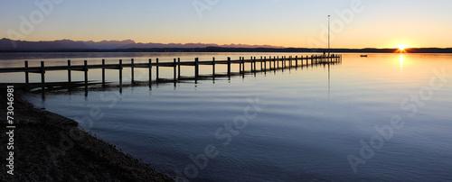 canvas print picture Steg am Starnberger See bei Sonnenuntergang