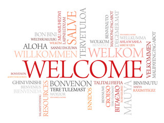 Background word cloud welcome different languages